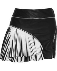 Jay Ahr Two-tone Pleated Leather Mini Skirt - Lyst