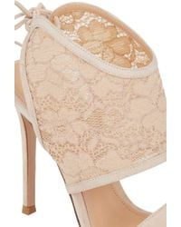 Gianvito Rossi Lace-Inset Sandals - Lyst