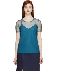 Burberry Prorsum Peacock Green Tulle And Silk Feather Light Top - Lyst