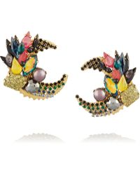 Vickisarge - Jungle Night Gold-Plated Crystal Earrings - Lyst