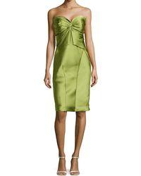 Zac Posen Twist-pleated Strapless Cocktail Dress - Lyst