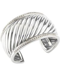 David Yurman Pre-owned Ss and Pave Diamonds Cable Cuff - Lyst