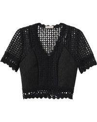 Rebecca Taylor | Short Sleeve Lace Crochet Top | Lyst