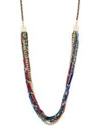 Steve Madden Gold-Tone Mixed Bead And Crystal Multi-Row Necklace - Lyst