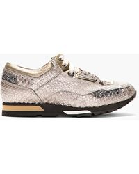 Lanvin Grey Metallic Python High_top Basket Sneakers - Lyst