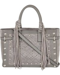 River Island Grey Leather Stud Fringed Tote Bag - Lyst