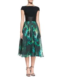 Theia Cap-sleeve Floral-skirt Cocktail Dress - Lyst