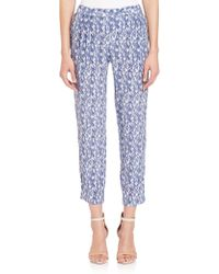 Joie | Gage Silk Feather-print Pants | Lyst