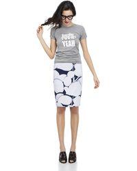 Cynthia Rowley Bonded Slim Skirt blue - Lyst