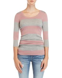 Pink Rose - Stripe Ruched Side Sweater - Lyst