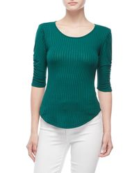 Almost Famous - Ribbed Padded Shoulder Top - Lyst