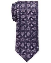 Isaac Mizrahi New York - Navy & Purple Neat Medallion Silk Tie - Lyst
