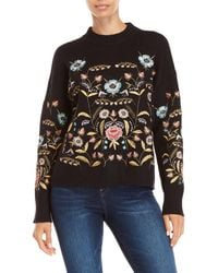 Lucy Paris - Black Embroidered Crew Neck Sweater - Lyst