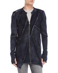 Avant Toi - Navy Zip-up Wool Sweatshirt - Lyst