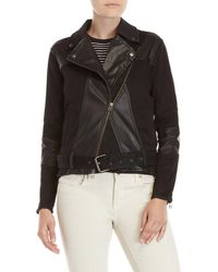 Buffalo David Bitton - Asymmetrical Mixed Media Moto Jacket - Lyst