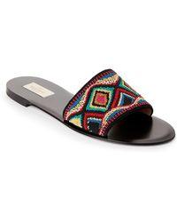 Valentino - Beaded Flat Sandals - Lyst