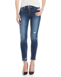 Flying Monkey - Exposed Zip Distressed Jeans - Lyst