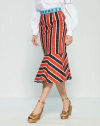 Stella Jean - Striped Snakeskin Print Mermaid Midi Skirt - Lyst
