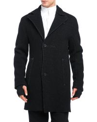 Transit Uomo - Leather Patch Wool Coat - Lyst