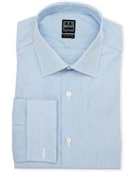 Ike Behar - Blue & White Striped Regular Fit Dress Shirt - Lyst