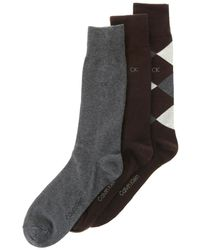 CALVIN KLEIN 205W39NYC - 3 Pair Solid And Diamond Print Dress Socks - Lyst