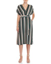 Lush - Stripe Belted V-neck Dress - Lyst