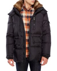 S13/nyc - Faux Fur Trim Hooded Down Coat - Lyst