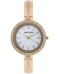 Anne Klein - Ak3138 Gold-tone Cuff Bracelet & Interchangeable Bezel Set - Lyst