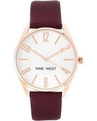 Nine West - Nw/2182 Burgundy & Rose Gold-tone Watch - Lyst