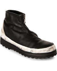 Masnada - Black & White Distressed Zip Boots - Lyst