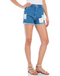House of Holland Denim Short Shorts With Patch Details - Blue