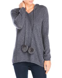 Ply Cashmere - Petite Real Fur Pom-Pom Cashmere Hoodie - Lyst