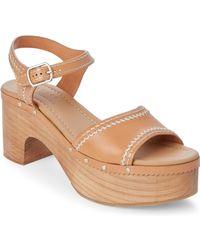 Sandro - Camel Audry Wooden Platform Sandals - Lyst