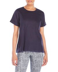 Symple NYC - Frayed Short Sleeve Top - Lyst