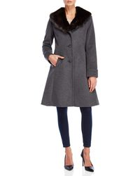 Lauren by Ralph Lauren - Faux Fur Collar Blended Wool Coat - Lyst
