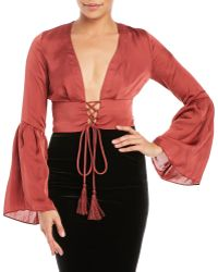 Olivaceous - Lace-Up Bell Sleeve Crop Top - Lyst