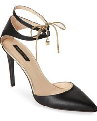 Patrizia Pepe | Pointed Toe Leather Ankle-tie Pumps | Lyst