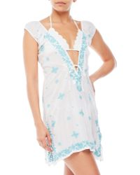 Letarte - Embroidered Cap Sleeve Cover-Up - Lyst