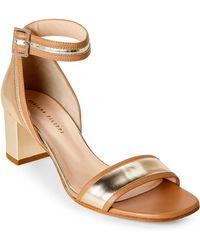Fabiana Filippi - Gold Metallic Leather Block Heel Sandals - Lyst