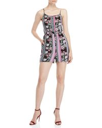 Pink Rose - Black Floral Button Romper - Lyst
