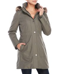 Anne Klein - Faux Fur Trim Hooded Parka - Lyst