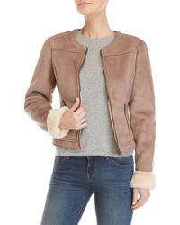 GAUDI - Faux Fur Trim Zip Jacket - Lyst