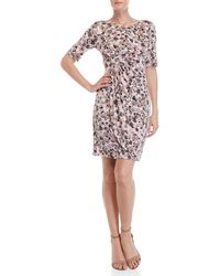 Connected Apparel - Petite Dot Print Cinched Dress - Lyst