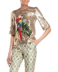 Dolce & Gabbana - Gold Parrot Sequin Top - Lyst