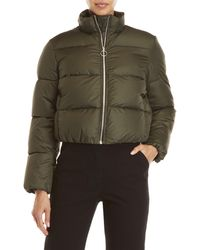 AVN - Olive Cropped Down Puffer Coat - Lyst