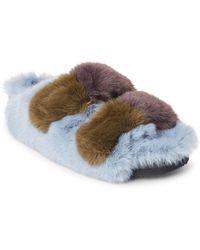 Suecomma Bonnie - Color Block Faux Fur Band Slide Sandals - Lyst