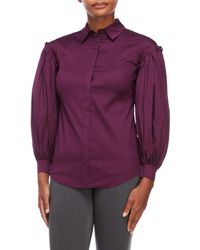 Adria Moss - High Drama Cotton Blend Blouse - Lyst