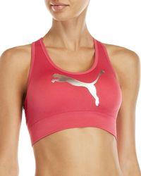 PUMA - Seamless Barre Logo Sports Bra - Lyst