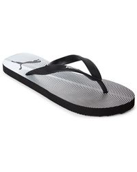 PUMA - Black & White Gradient Wave Flip Flops - Lyst