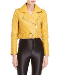 Walter Baker - Shirley Leather Belted Moto Jacket - Lyst